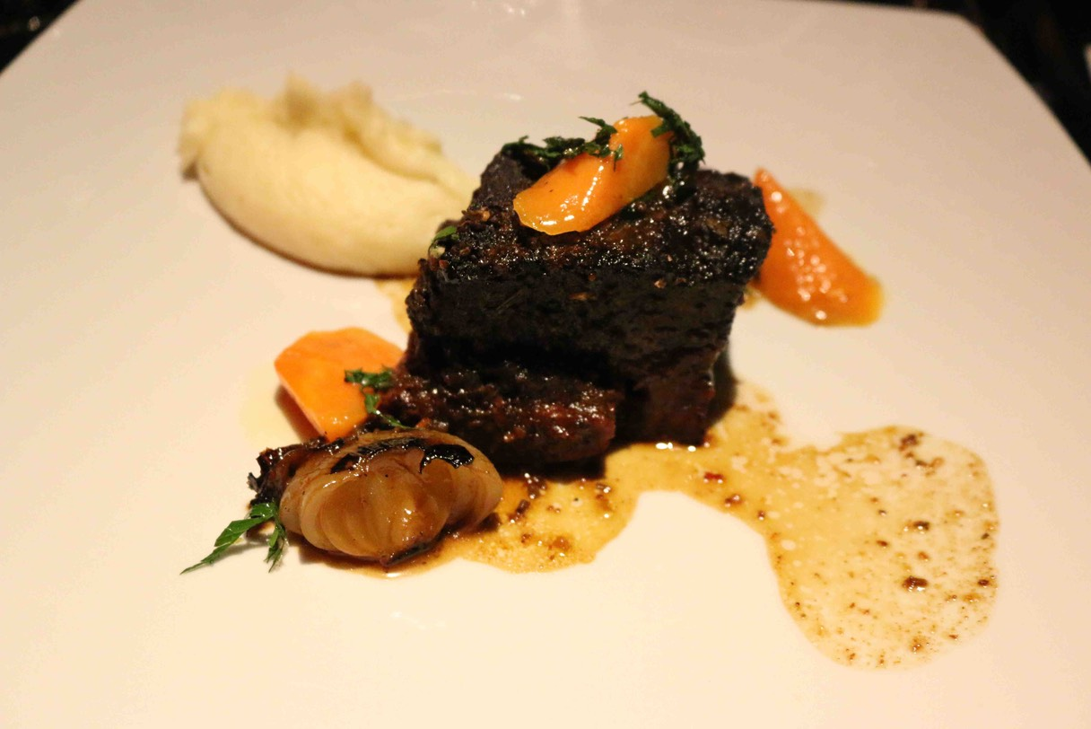 72 Hour Short Rib with Cippolini Onion, Chantenay Carrots, Bone Marrow Whipped Yukon Potato & Gremolata