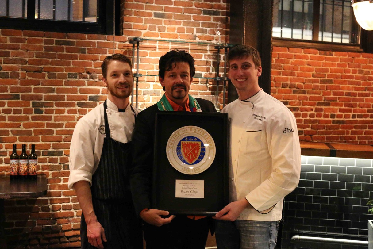 Chef de Cuisine Ryan Marcux, Chambelan Provincial Nord-Est, Bailli de Boston Marshall L. Berenson & Chef Owner Christophe Coombs