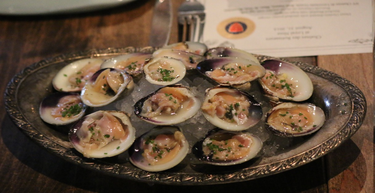 7. Littleneck Clams with Ginger vinegar + chili water
